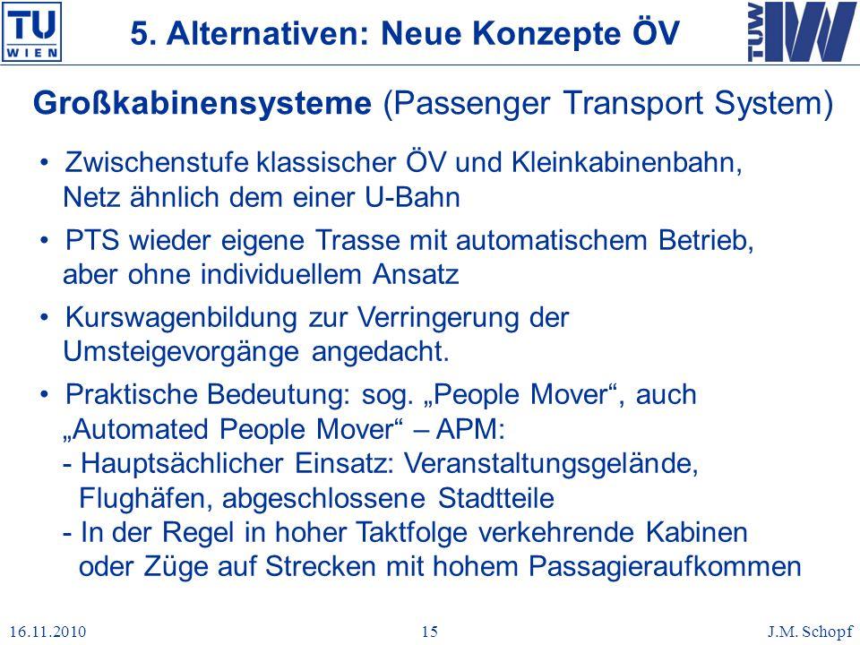 16.11.2010J.M. Schopf15 Großkabinensysteme (Passenger Transport System) Zwischenstufe klassischer ÖV und Kleinkabinenbahn, Netz ähnlich dem einer U-Ba