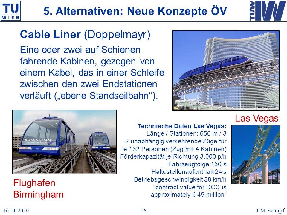 16.11.2010J.M. Schopf16 Cable Liner (Doppelmayr) Eine oder zwei auf Schienen fahrende Kabinen, gezogen von einem Kabel, das in einer Schleife zwischen