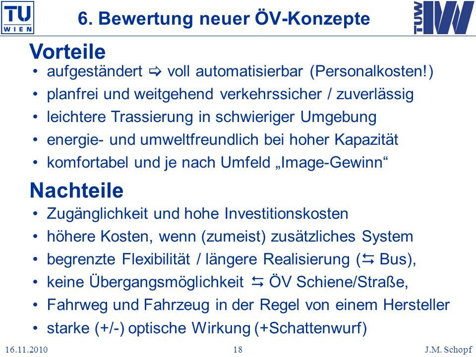 16.11.2010J.M. Schopf18 Vorteile aufgeständert voll automatisierbar (Personalkosten!) planfrei und weitgehend verkehrssicher / zuverlässig leichtere T