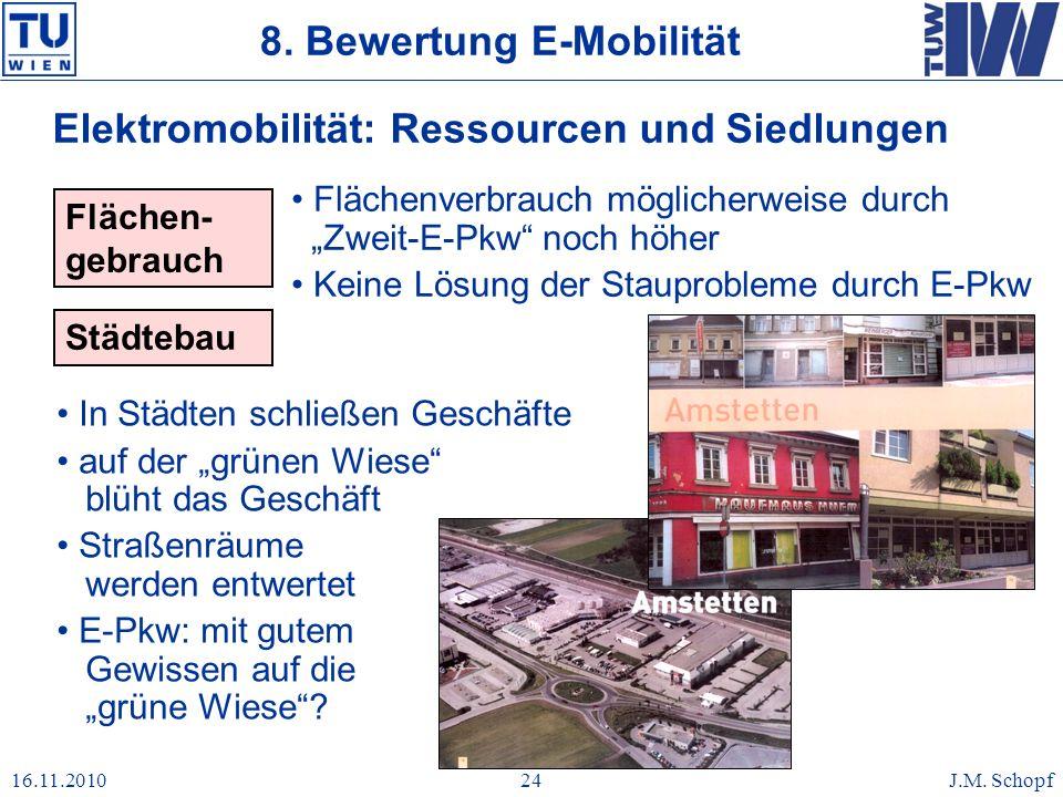 16.11.2010J.M. Schopf24 Elektromobilität: Ressourcen und Siedlungen Flächen- gebrauch Flächenverbrauch möglicherweise durch Zweit-E-Pkw noch höher Kei