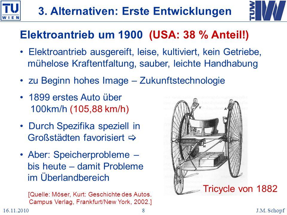 16.11.2010J.M. Schopf8 Elektroantrieb um 1900 (USA: 38 % Anteil!) [Quelle: Möser, Kurt: Geschichte des Autos. Campus Verlag, Frankfurt/New York, 2002.