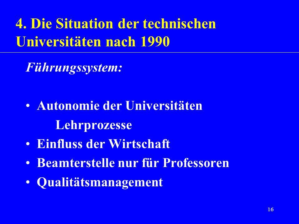 16 Führungssystem: Autonomie der Universitäten Lehrprozesse Einfluss der Wirtschaft Beamterstelle nur für Professoren Qualitätsmanagement 4. Die Situa