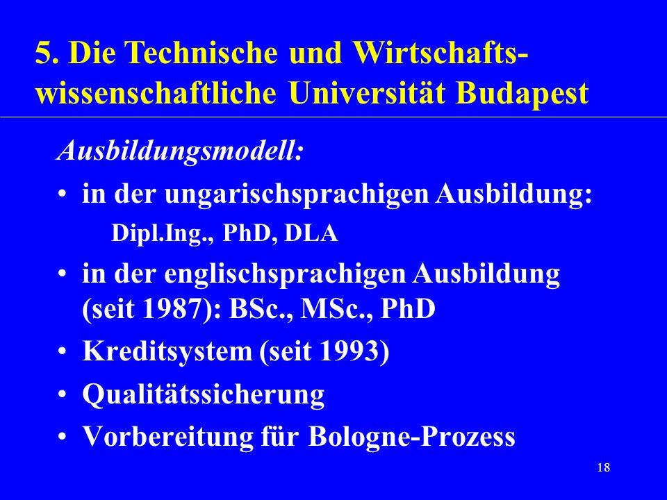 18 Ausbildungsmodell: in der ungarischsprachigen Ausbildung: Dipl.Ing., PhD, DLA in der englischsprachigen Ausbildung (seit 1987): BSc., MSc., PhD Kre