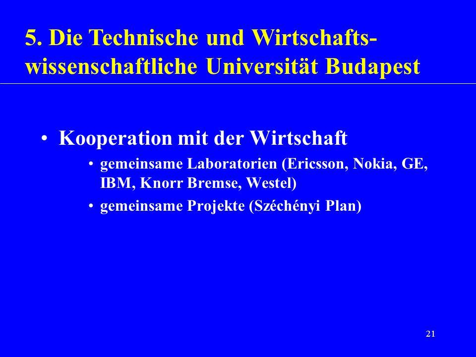 21 Kooperation mit der Wirtschaft gemeinsame Laboratorien (Ericsson, Nokia, GE, IBM, Knorr Bremse, Westel) gemeinsame Projekte (Széchényi Plan) 5. Die