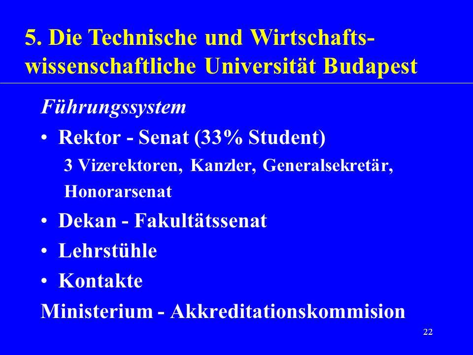 22 Führungssystem Rektor - Senat (33% Student) 3 Vizerektoren, Kanzler, Generalsekretär, Honorarsenat Dekan - Fakultätssenat Lehrstühle Kontakte Minis