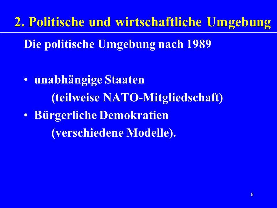 6 Die politische Umgebung nach 1989 unabhängige Staaten (teilweise NATO-Mitgliedschaft) Bürgerliche Demokratien (verschiedene Modelle). 2. Politische