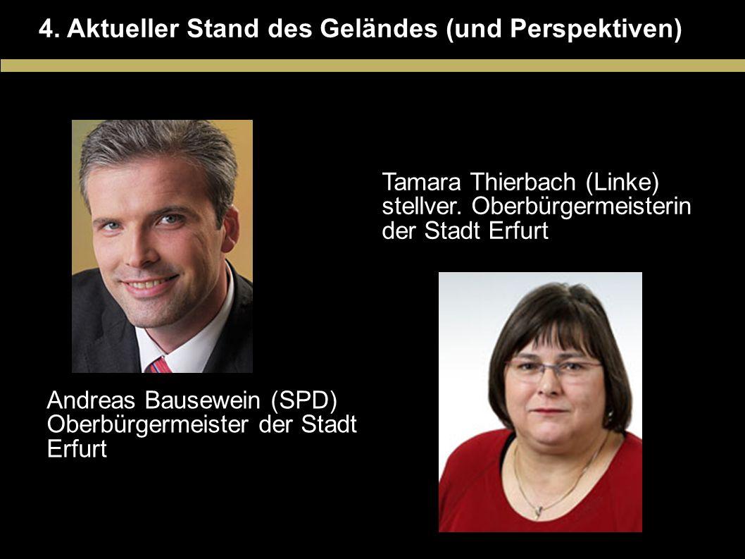 4. Aktueller Stand des Geländes (und Perspektiven) Tamara Thierbach (Linke) stellver. Oberbürgermeisterin der Stadt Erfurt Andreas Bausewein (SPD) Obe