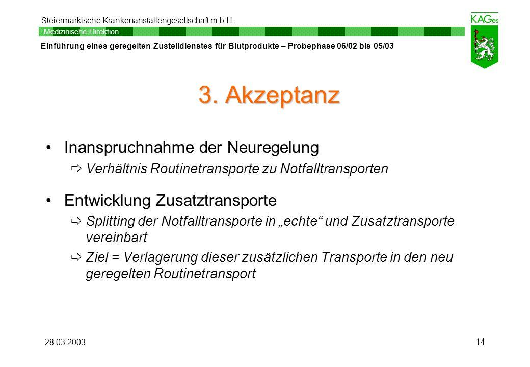 Steiermärkische Krankenanstaltengesellschaft m.b.H. Einführung eines geregelten Zustelldienstes für Blutprodukte – Probephase 06/02 bis 05/03 Medizini
