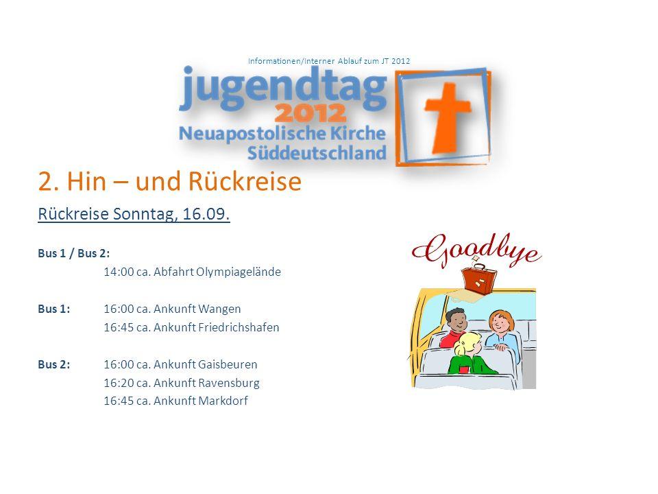 Informationen/Interner Ablauf zum JT 2012 2. Hin – und Rückreise Rückreise Sonntag, 16.09.
