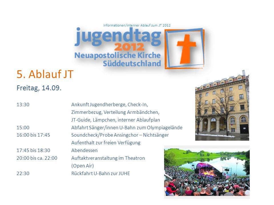 Informationen/interner Ablauf zum JT 2012 5. Ablauf JT Freitag, 14.09.
