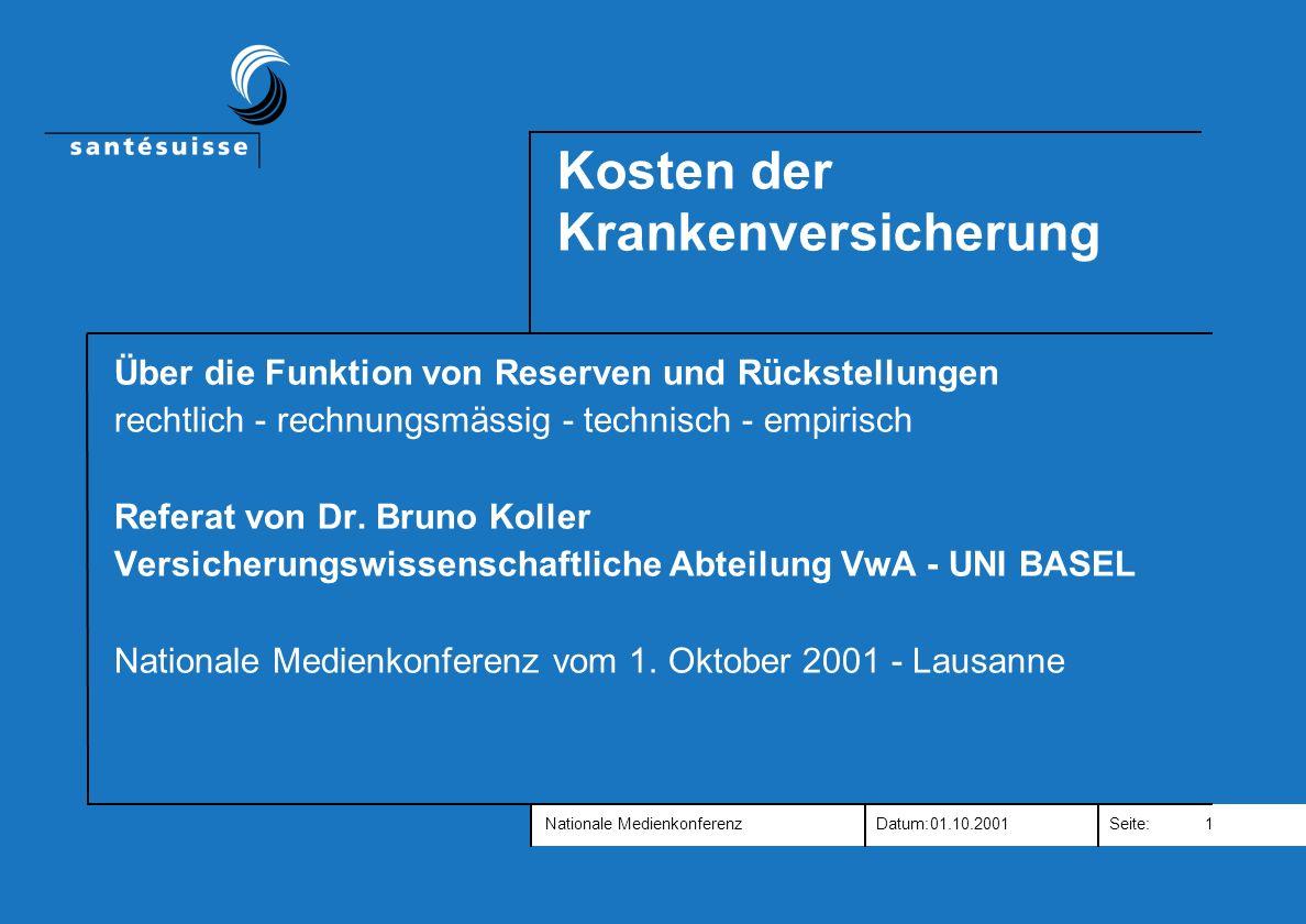 Datum:Seite: 01.10.2001 Nationale Medienkonferenz 1 Kosten der Krankenversicherung Über die Funktion von Reserven und Rückstellungen rechtlich - rechnungsmässig - technisch - empirisch Referat von Dr.