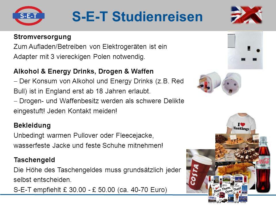 S-E-T Studienreisen Stromversorgung Zum Aufladen/Betreiben von Elektrogeräten ist ein Adapter mit 3 viereckigen Polen notwendig. Alkohol & Energy Drin