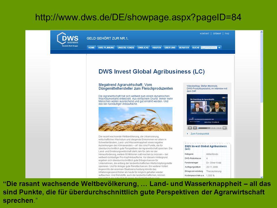 http://www.dws.de/DE/showpage.aspx?pageID=84 Die rasant wachsende Weltbevölkerung, … Land- und Wasserknappheit – all das sind Punkte, die für überdurc