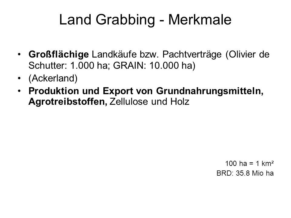 Land Grabbing - Merkmale Großflächige Landkäufe bzw. Pachtverträge (Olivier de Schutter: 1.000 ha; GRAIN: 10.000 ha) (Ackerland) Produktion und Export