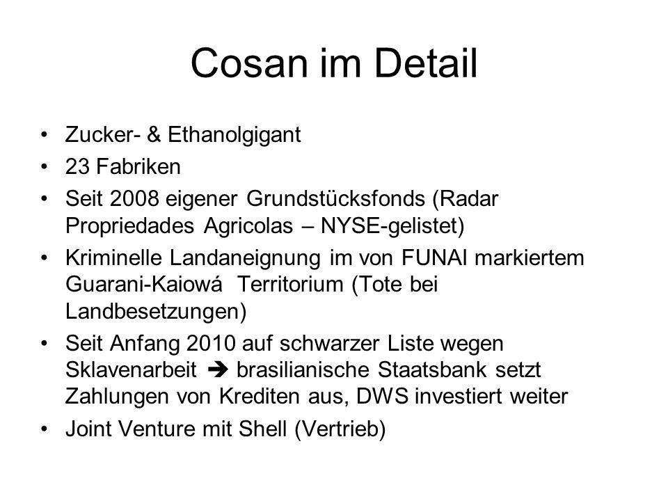 Cosan im Detail Zucker- & Ethanolgigant 23 Fabriken Seit 2008 eigener Grundstücksfonds (Radar Propriedades Agricolas – NYSE-gelistet) Kriminelle Landa