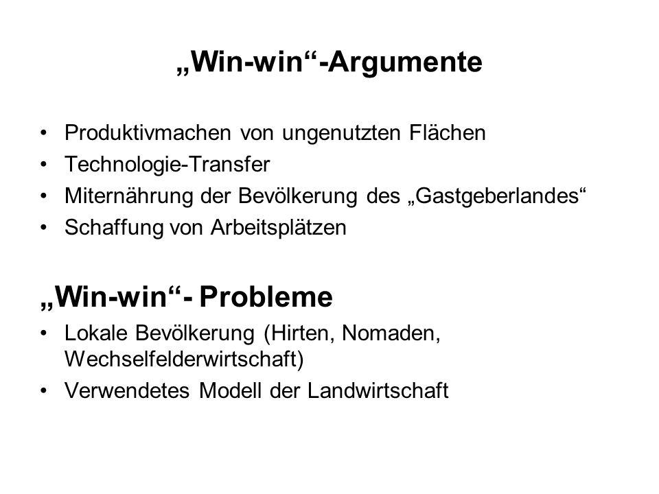 Win-win-Argumente Produktivmachen von ungenutzten Flächen Technologie-Transfer Miternährung der Bevölkerung des Gastgeberlandes Schaffung von Arbeitsp