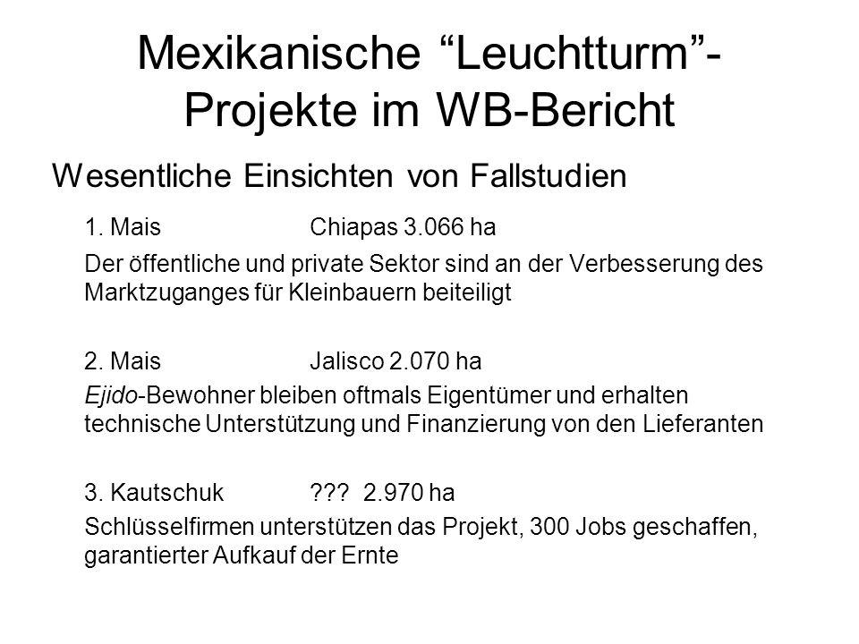 Mexikanische Leuchtturm- Projekte im WB-Bericht Wesentliche Einsichten von Fallstudien 1. Mais Chiapas 3.066 ha Der öffentliche und private Sektor sin
