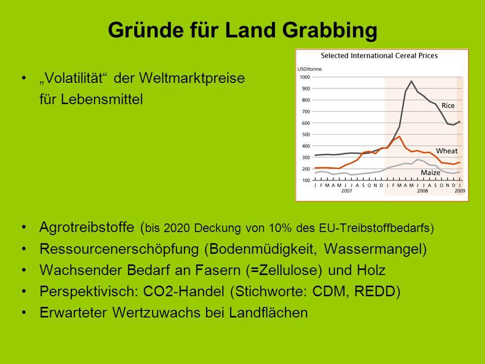 Gründe für Land Grabbing Volatilität der Weltmarktpreise für Lebensmittel Agrotreibstoffe ( bis 2020 Deckung von 10% des EU-Treibstoffbedarfs) Ressour