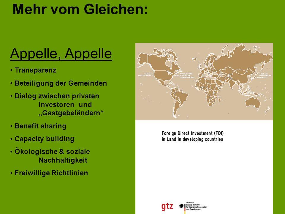 Mehr vom Gleichen: Appelle, Appelle Transparenz Beteiligung der Gemeinden Dialog zwischen privaten Investoren und Gastgebeländern Benefit sharing Capa