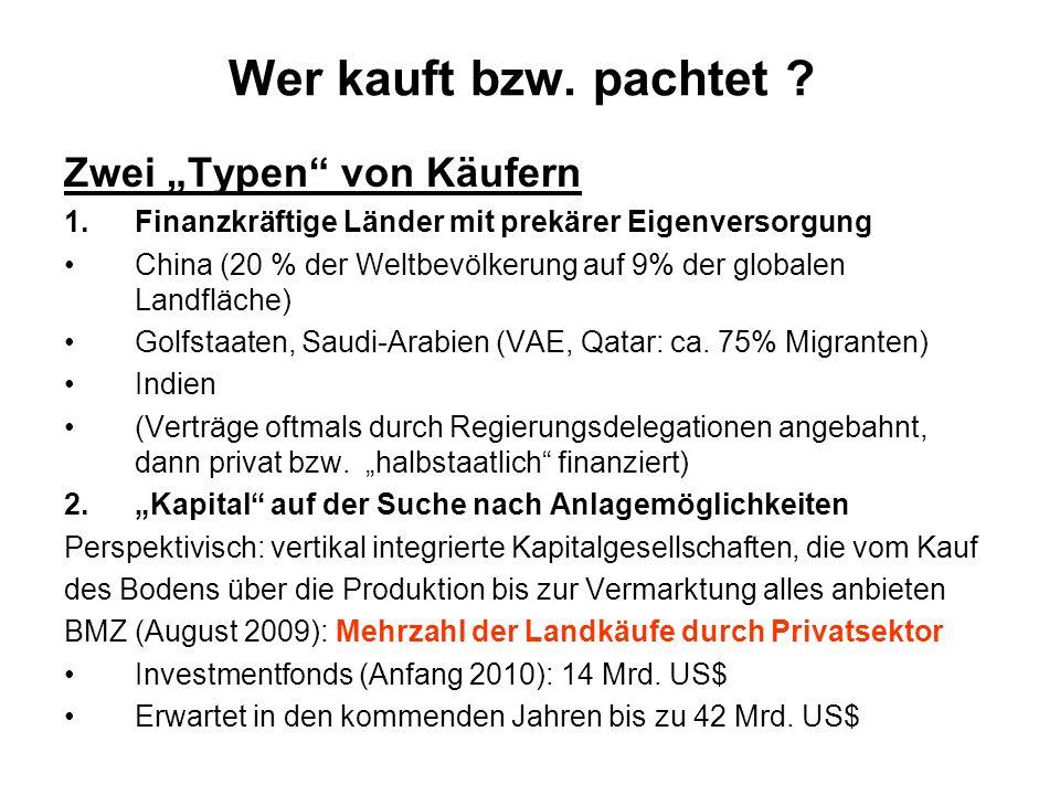 Wer kauft bzw. pachtet ? Zwei Typen von Käufern 1.Finanzkräftige Länder mit prekärer Eigenversorgung China (20 % der Weltbevölkerung auf 9% der global