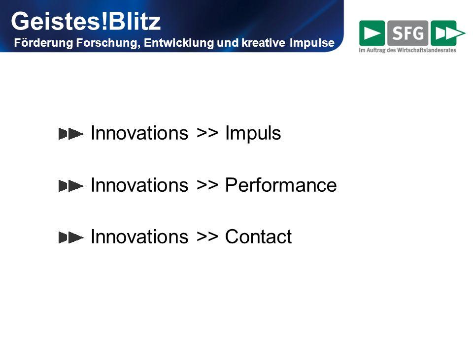 Innovations >> Impuls externe Beratungsleistungen, um neue Ideen zu finden: unternehmensbezogene Master- bzw.