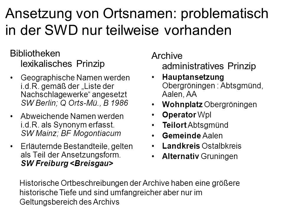 Ansetzung von Ortsnamen: problematisch in der SWD nur teilweise vorhanden Bibliotheken lexikalisches Prinzip Geographische Namen werden i.d.R. gemäß d