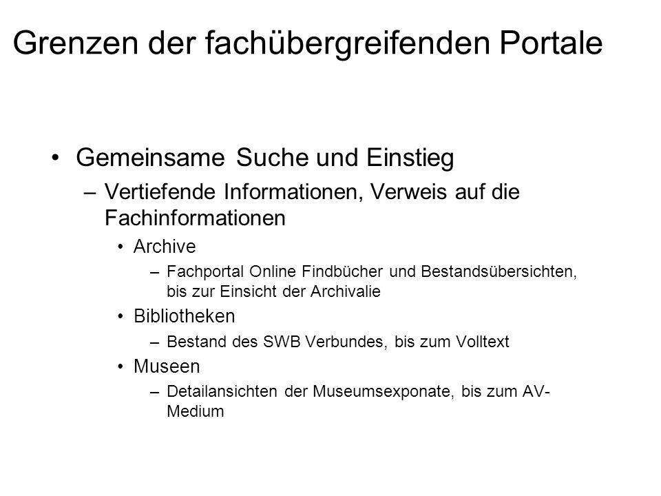 Grenzen der fachübergreifenden Portale Gemeinsame Suche und Einstieg –Vertiefende Informationen, Verweis auf die Fachinformationen Archive –Fachportal