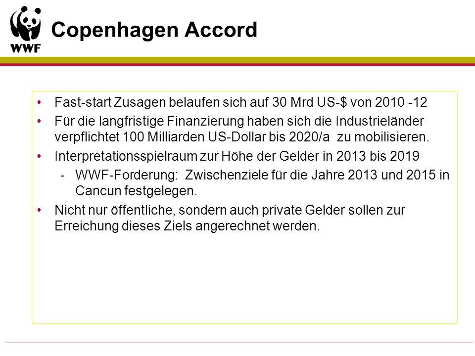 Copenhagen Accord Fast-start Zusagen belaufen sich auf 30 Mrd US-$ von 2010 -12 Für die langfristige Finanzierung haben sich die Industrieländer verpf