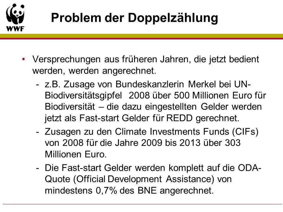 Problem der Doppelzählung Versprechungen aus früheren Jahren, die jetzt bedient werden, werden angerechnet. -z.B. Zusage von Bundeskanzlerin Merkel be