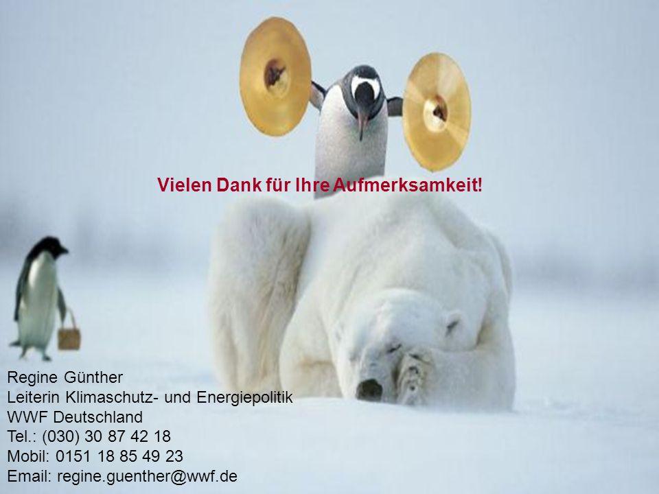 Vielen Dank für Ihre Aufmerksamkeit! Regine Günther Leiterin Klimaschutz- und Energiepolitik WWF Deutschland Tel.: (030) 30 87 42 18 Mobil: 0151 18 85
