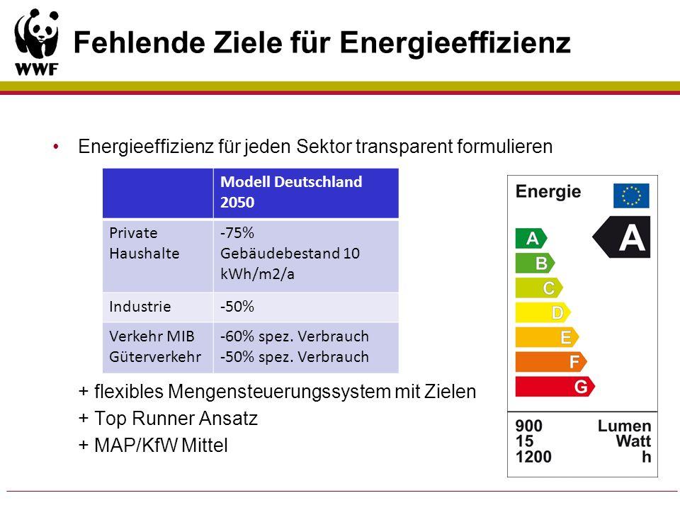 Fehlende Ziele für Energieeffizienz Energieeffizienz für jeden Sektor transparent formulieren + flexibles Mengensteuerungssystem mit Zielen + Top Runn