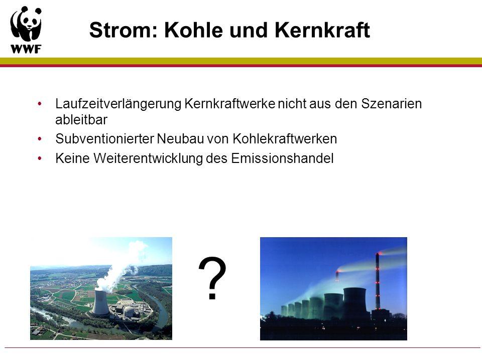Strom: Kohle und Kernkraft Laufzeitverlängerung Kernkraftwerke nicht aus den Szenarien ableitbar Subventionierter Neubau von Kohlekraftwerken Keine We