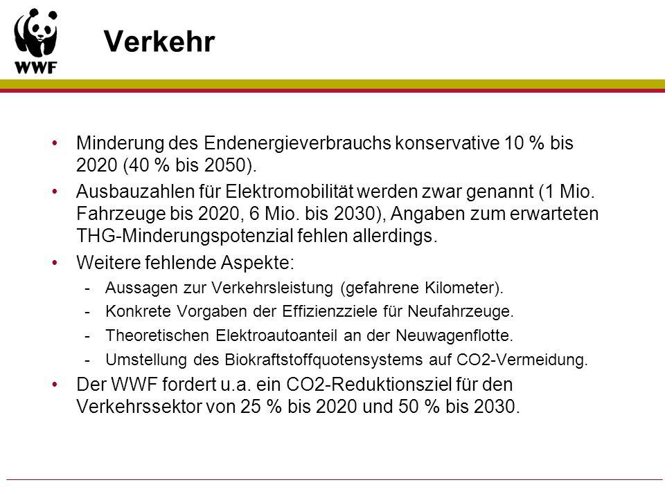 Verkehr Minderung des Endenergieverbrauchs konservative 10 % bis 2020 (40 % bis 2050). Ausbauzahlen für Elektromobilität werden zwar genannt (1 Mio. F