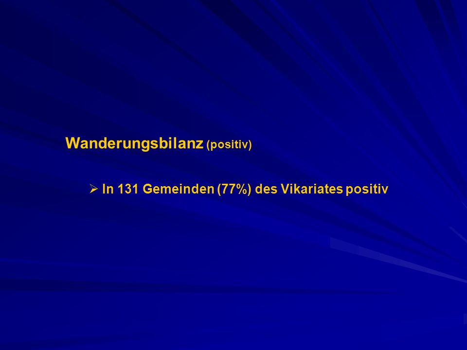 Wanderungsbilanz (positiv) In 131 Gemeinden (77%) des Vikariates positiv