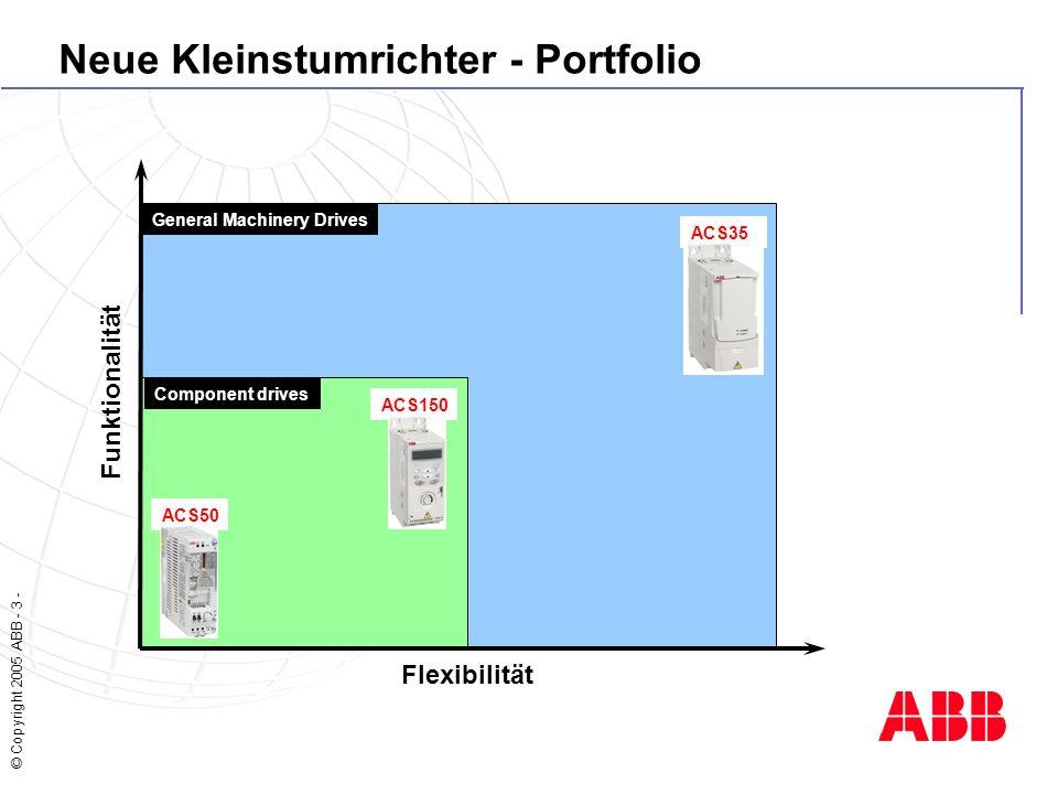 © Copyright 2005 ABB - 3 - Neue Kleinstumrichter - Portfolio Funktionalität Flexibilität ACS35 0 ACS150 ACS50 General Machinery Drives Component drives