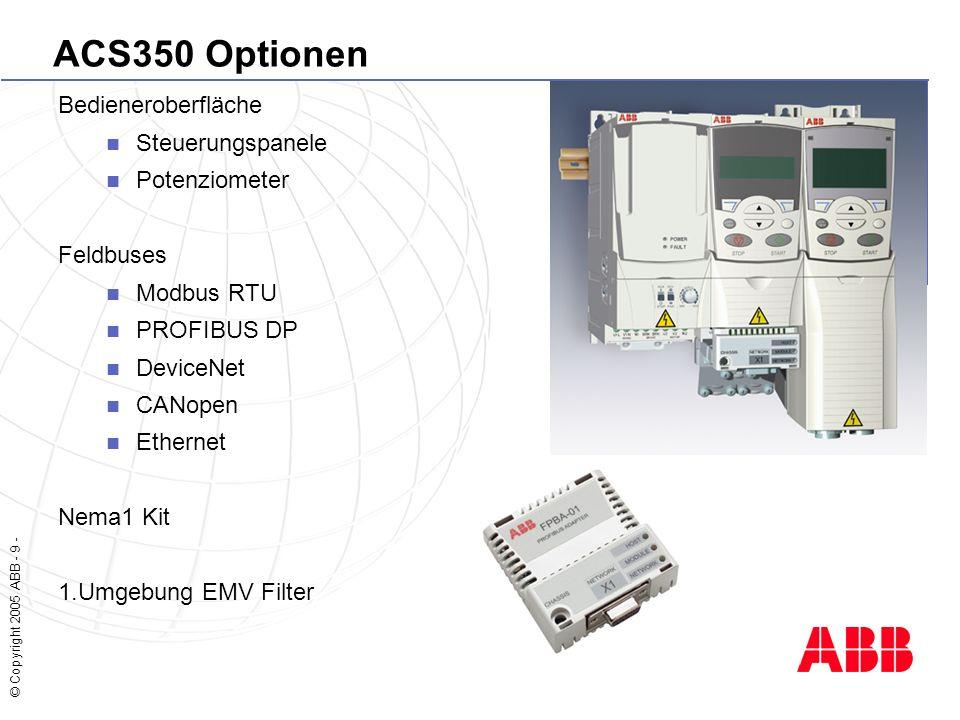 © Copyright 2005 ABB - 9 - ACS350 Optionen Bedieneroberfläche Steuerungspanele Potenziometer Feldbuses Modbus RTU PROFIBUS DP DeviceNet CANopen Ethernet Nema1 Kit 1.Umgebung EMV Filter