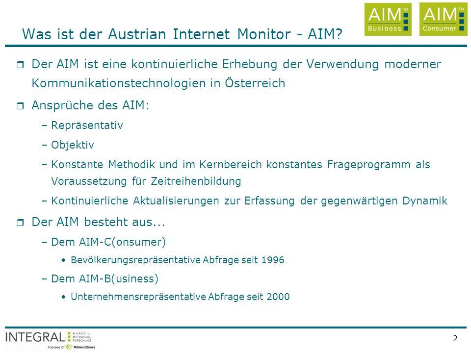 Quelle: INTEGRAL, AIM - Austrian Internet Monitor, rep. Österr. ab 14 Jahren, Jänner bis März 2008, n=3000 pro Quartal 2 Was ist der Austrian Internet