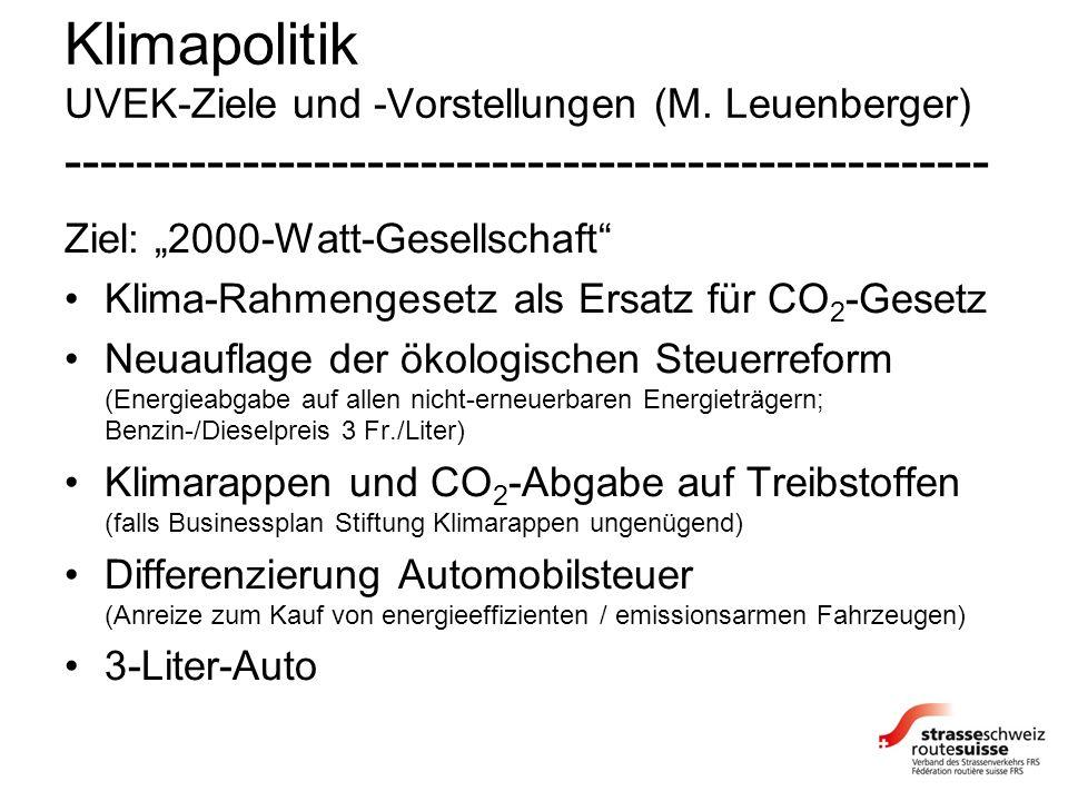 Klimapolitik UVEK-Ziele und -Vorstellungen (M. Leuenberger) ---------------------------------------------------- Ziel: 2000-Watt-Gesellschaft Klima-Ra