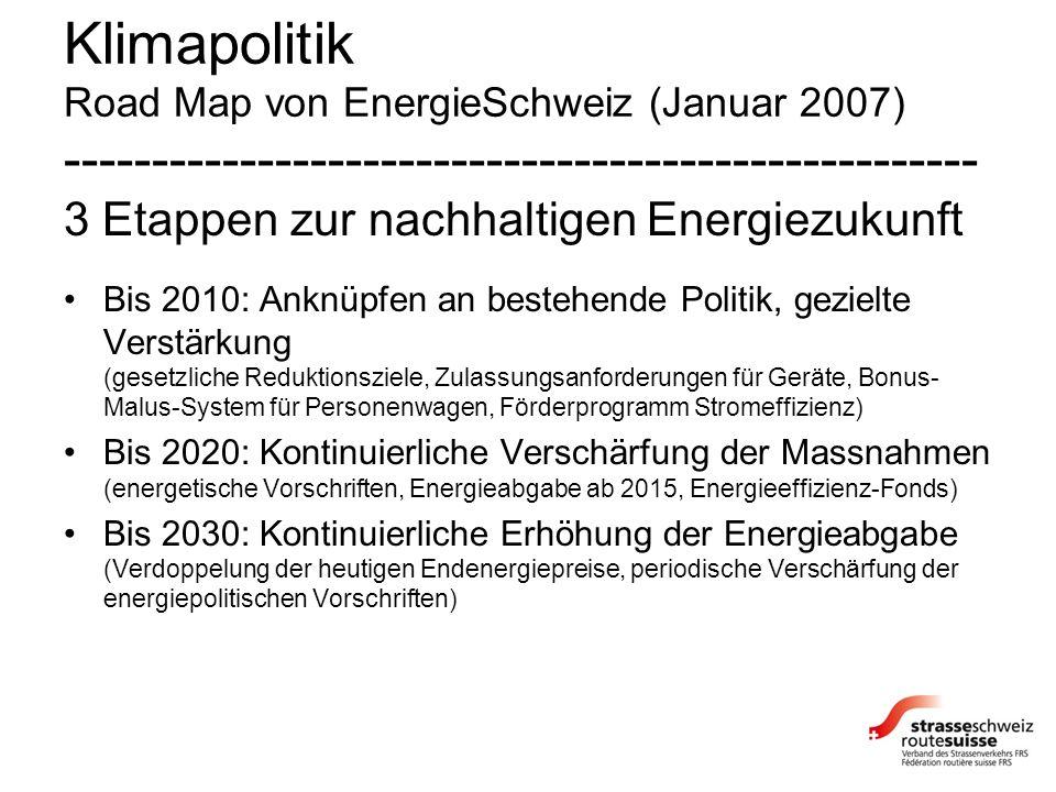 Klimapolitik Road Map von EnergieSchweiz (Januar 2007) ---------------------------------------------------- 3 Etappen zur nachhaltigen Energiezukunft Bis 2010: Anknüpfen an bestehende Politik, gezielte Verstärkung (gesetzliche Reduktionsziele, Zulassungsanforderungen für Geräte, Bonus- Malus-System für Personenwagen, Förderprogramm Stromeffizienz) Bis 2020: Kontinuierliche Verschärfung der Massnahmen (energetische Vorschriften, Energieabgabe ab 2015, Energieeffizienz-Fonds) Bis 2030: Kontinuierliche Erhöhung der Energieabgabe (Verdoppelung der heutigen Endenergiepreise, periodische Verschärfung der energiepolitischen Vorschriften)