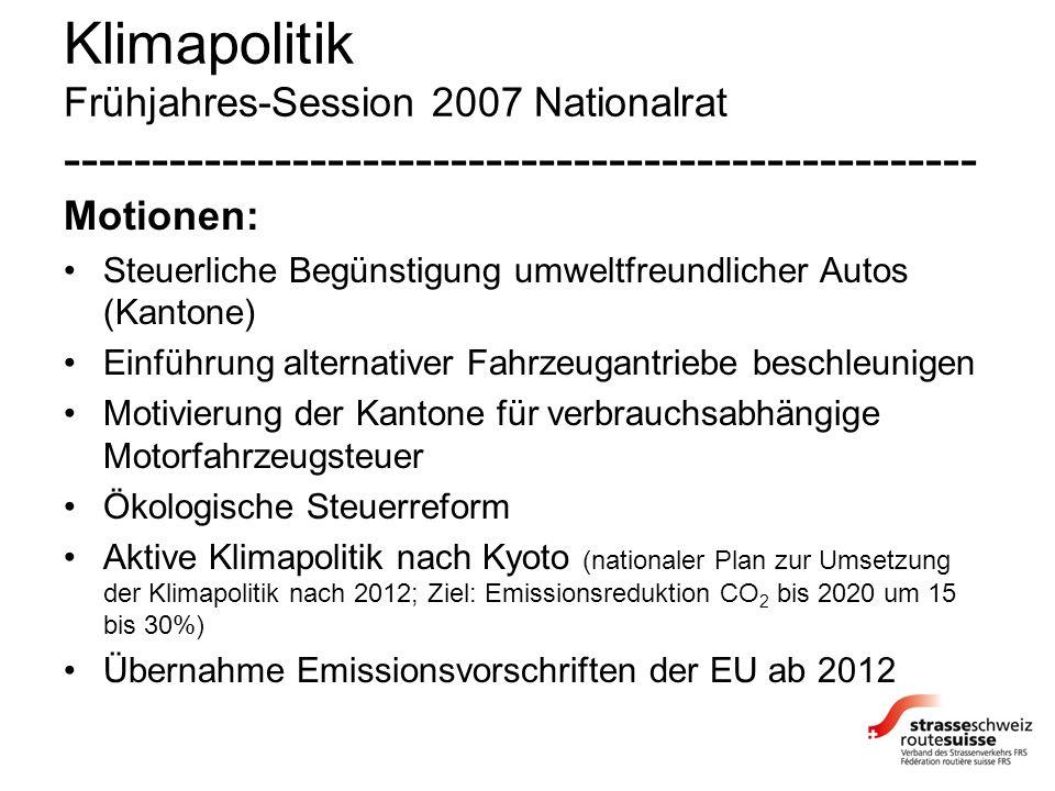 Klimapolitik Frühjahres-Session 2007 Nationalrat ---------------------------------------------------- Motionen: Steuerliche Begünstigung umweltfreundlicher Autos (Kantone) Einführung alternativer Fahrzeugantriebe beschleunigen Motivierung der Kantone für verbrauchsabhängige Motorfahrzeugsteuer Ökologische Steuerreform Aktive Klimapolitik nach Kyoto (nationaler Plan zur Umsetzung der Klimapolitik nach 2012; Ziel: Emissionsreduktion CO 2 bis 2020 um 15 bis 30%) Übernahme Emissionsvorschriften der EU ab 2012
