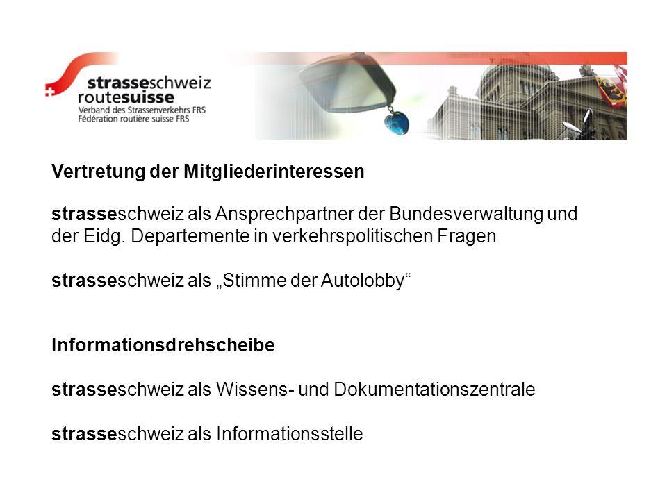 Vertretung der Mitgliederinteressen strasseschweiz als Ansprechpartner der Bundesverwaltung und der Eidg. Departemente in verkehrspolitischen Fragen s