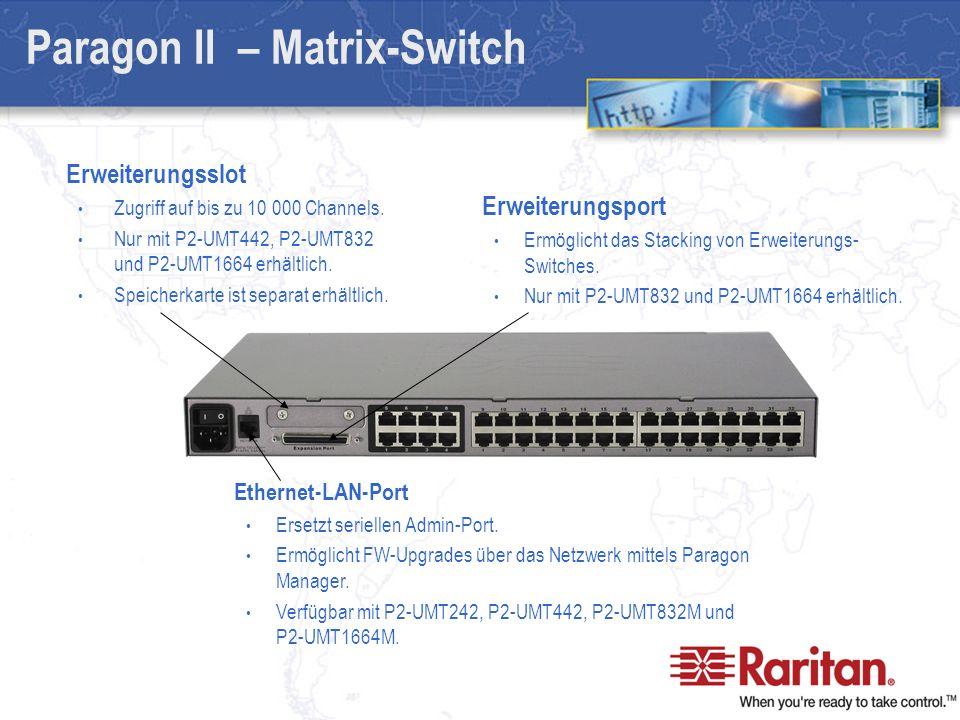 Paragon II – Matrix-Switch Erweiterungsslot Zugriff auf bis zu 10 000 Channels.