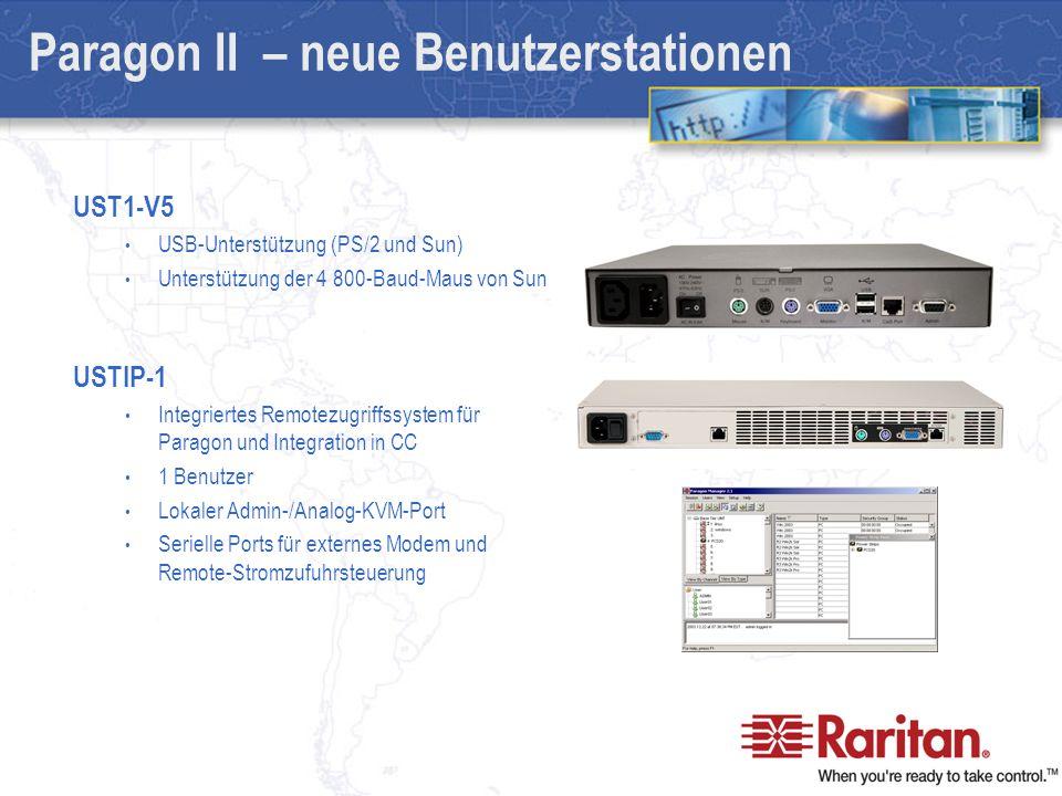UST1-V5 USB-Unterstützung (PS/2 und Sun) Unterstützung der 4 800-Baud-Maus von Sun USTIP-1 Integriertes Remotezugriffssystem für Paragon und Integration in CC 1 Benutzer Lokaler Admin-/Analog-KVM-Port Serielle Ports für externes Modem und Remote-Stromzufuhrsteuerung Paragon II – neue Benutzerstationen