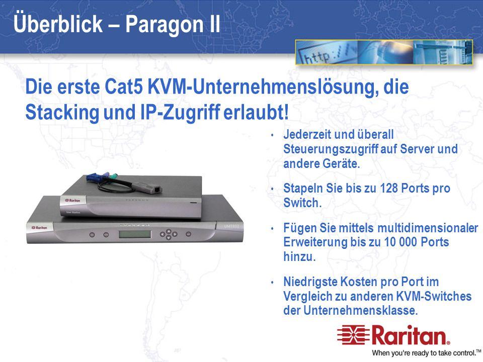 Paragon II – Neuigkeiten Stapelbar und skalierbar Optionaler integrierter IP-Zugriff Integrierte Stromverwaltung Erstklassige Verwaltungsfunktionen Leichte Installation und Anwendung Von Raritan entwickelt, hergestellt und unterstützt Jetzt noch besser!