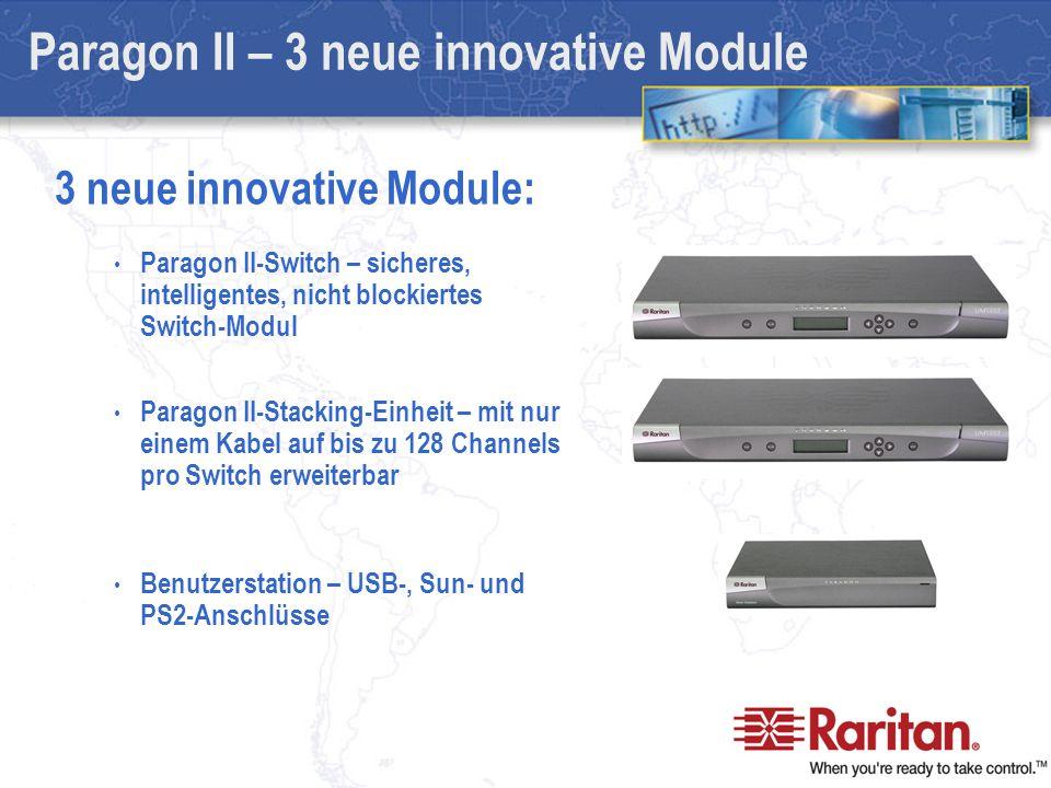Paragon II-Switch – sicheres, intelligentes, nicht blockiertes Switch-Modul Paragon II-Stacking-Einheit – mit nur einem Kabel auf bis zu 128 Channels pro Switch erweiterbar Benutzerstation – USB-, Sun- und PS2-Anschlüsse Paragon II – 3 neue innovative Module 3 neue innovative Module: