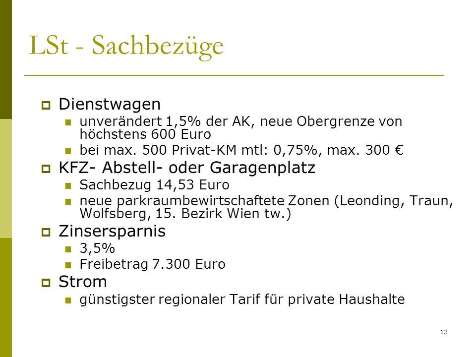 13 LSt - Sachbezüge Dienstwagen unverändert 1,5% der AK, neue Obergrenze von höchstens 600 Euro bei max. 500 Privat-KM mtl: 0,75%, max. 300 KFZ- Abste