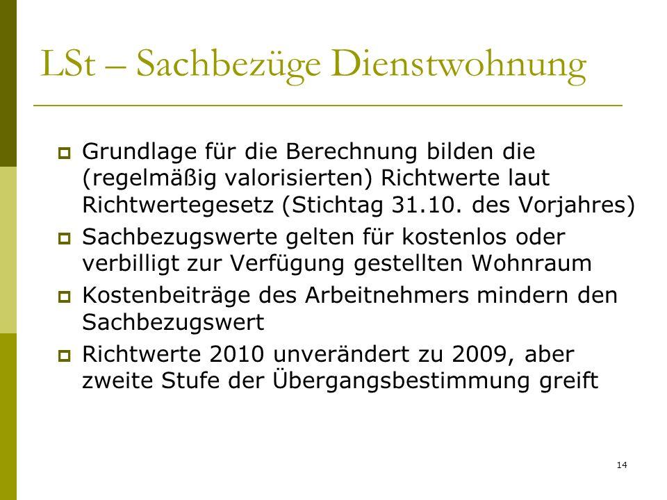 14 LSt – Sachbezüge Dienstwohnung Grundlage für die Berechnung bilden die (regelmäßig valorisierten) Richtwerte laut Richtwertegesetz (Stichtag 31.10.