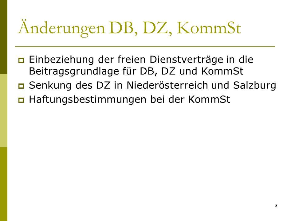 5 Änderungen DB, DZ, KommSt Einbeziehung der freien Dienstverträge in die Beitragsgrundlage für DB, DZ und KommSt Senkung des DZ in Niederösterreich u