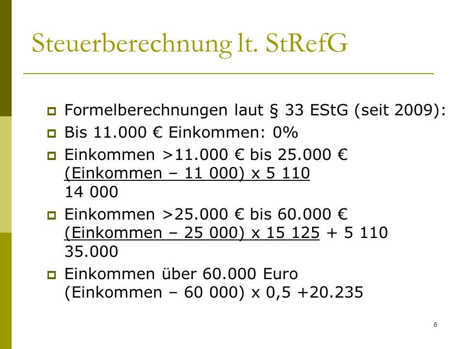 6 Steuerberechnung lt. StRefG Formelberechnungen laut § 33 EStG (seit 2009): Bis 11.000 Einkommen: 0% Einkommen >11.000 bis 25.000 (Einkommen – 11 000