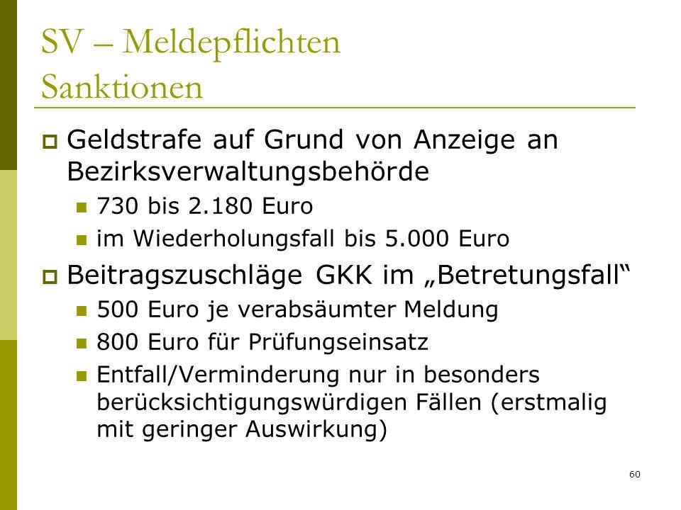 60 SV – Meldepflichten Sanktionen Geldstrafe auf Grund von Anzeige an Bezirksverwaltungsbehörde 730 bis 2.180 Euro im Wiederholungsfall bis 5.000 Euro
